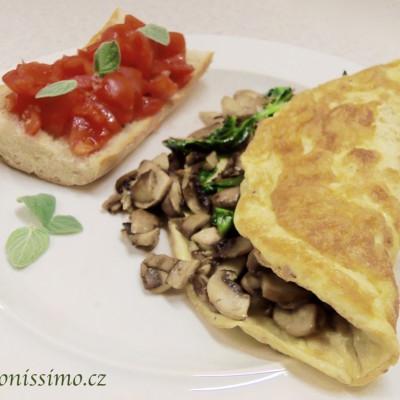 Plněná omeleta a bruschetta s cherry rajčaty
