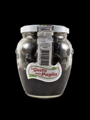 Sušené černé olivy (jemně ochucené) ve slunečnicovém oleji